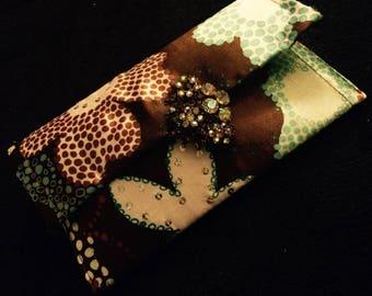 Multi color floral print clutch