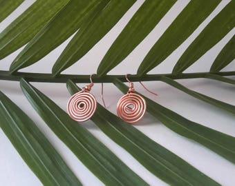 2 pair Copper spiral earrings
