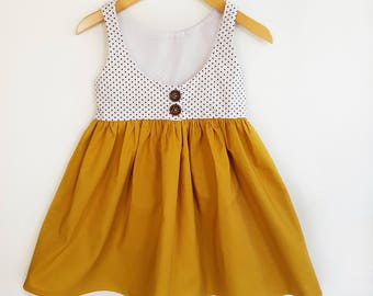 Girls mustard dress, mustard dress, mustard, spots, girls dress, Mustard and pindot dress