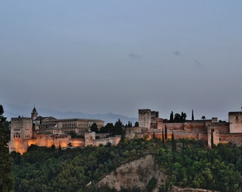 Alhambra Photography Print, Granada Spain Photography, Spain Wall Art, Alhambra at Dusk