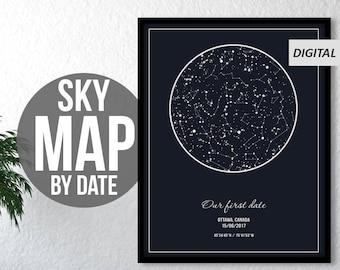 Custom Star Map, Custom Star Sky, Custom Sky Map, Star Map Custom Digital, Constellation Map Custom, Sky Map Download, Night Sky Map Pdf