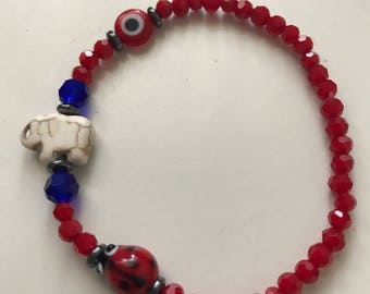 Good luck bracelet elephant/evil eye/ladybug size 7