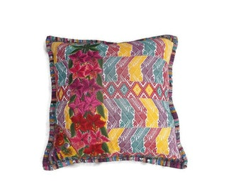 Huipil pillow cover, handmade embroidery huipil  pillows, decorative pillows, huipil from Guatemala.