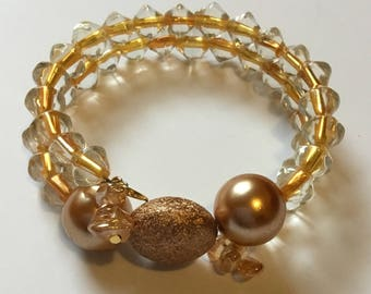 Gold memory wire multi-layered beaded bracelet