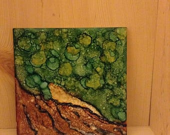"Alcohol ink tile ""Tree of Life"""