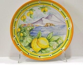 Vietri ceramics, wall plate with hand-decorated hole cm 25.5 ø