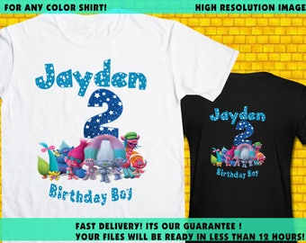 Trolls / Iron On Transfer / Trolls Boy Birthday Shirt Transfer Design / High Resolution / For Any Color T Shirt / 12 Hours Turnaround Time