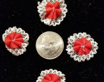 Cute Padded Applique Lacy with Red Center 10 Pieces for sewing/doll making/hairbow/scrapbooking/crafts, etc.