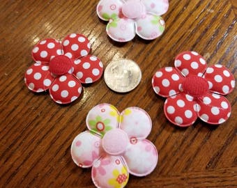 Cute Padded Applique Flowers 15 Pieces  for sewing/doll making/hairbow/scrapbooking/crafts, etc.