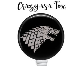 Game of Thrones Stark  Retractable Badge Holder, Badge Reel, Lanyard, Stethoscope ID Tag, Teacher, Nurse, MD Gift