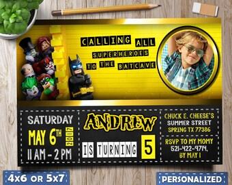 Lego Batman Invitations, Lego Batman Birthday, Lego Batman Birthday Invitation, Lego Batman Invitation with Photo, Lego Batman Favors tag