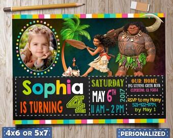 Moana Birthday, Moana Invitation, Moana Birthday Invitation, Moana Invitation download, Moana invitation with Photo, invitation editable