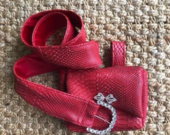 Samantha Red belted purse