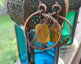 Raw Copper wired circle earrings