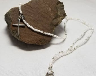Matching White and Silver Cross Necklace and Bracelet Set