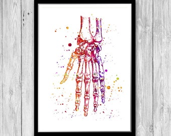 Orthopedic Surgeon Gift Hand Anatomy Art Print Medical Wall Decor Doctor Birthday Present Clinic Decor Watercolor Human Hand Poster
