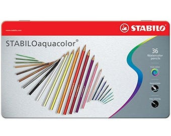 36 Personalised Stabilo Watercolour Pencils in a tin
