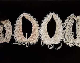 Set of FOUR Vintage Collars, Collar crocheted, Handmade collar, Vintage collar crocheted, Lace Vintage Collar