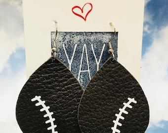Leather Football Earrings