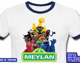Sesame Street , Sesame Street Iron On Transfer , Sesame Street Birthday Shirt DIY , Sesame Street Shirt DIY , Personalize Name ,Digital File