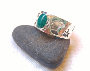 Silver Celestial Malachite Ring - Celestial Jewelry - Green Jewelry - Goes with Everything - Southwestern Jewelry- Sun, Moon, and Stars
