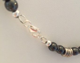 Hematite and Steel with Silver Tone Cross