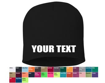 custom beanies, personalized beanies, bulk beanies, your text beanies