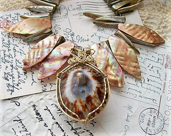 Upcycled Abalone Wire Wrapped Necklace Recycled Statement Necklace Mother of Pearl Hearts Spiky Shell Pendant