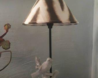 Handmade lamp birds white with zebra pattern screen unique
