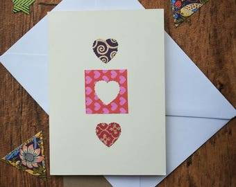 Handmade- I Love You/Cut out Hearts/Bright/Quirky/Playful Love themed Valentines card - Anniversay card - Birthday Card