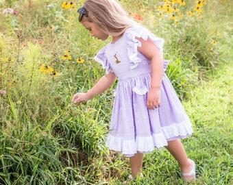 Lavender, Swiss Dot, Embroidered, Puppy Dog, Eyelet, Ruffles, Twirly Skirt, Classic, Girl's Dress, Dress, Spring Dress, Summer Dress