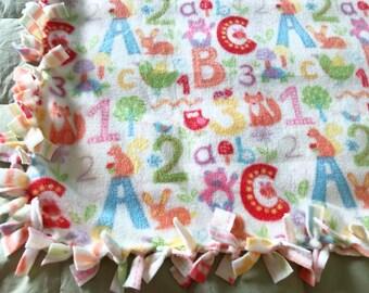 ABCs Fleece Tie Blanket | ABCs Fleece Blanket | Double Sided Baby Blanket | 123 Fleece Blanket | Toddler Blanket