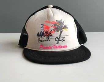 Vintage Beach Club Puerto Vallarta Truckers Hat, Vintage Beach Club Snapback Hat, Vintage Puerto Vallarta Beach Club Mesh Snapback Hat