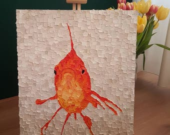Oilpaint on canvas, 'Goldfish |', 40x50 cm