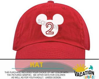 Disney hat 2 two 2nd second Mickey - Toddler Boy Girl Mickey Ears baseball Hat Kids Disney Mickey Hat Disneyland Mickey Birthday Cap Trucker