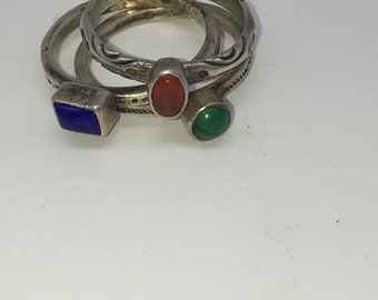 Sterling Silver Stackable Rings Lapis Lazuli, Malachite & Agate