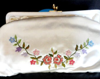 POINT DE BEAUVAIS Embroidered Floral Satin Purse w/ Eyeglass Case