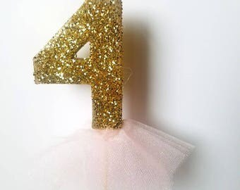 Gold glitter princess cake topper, ballerina cake topper, girls birthday cake topper