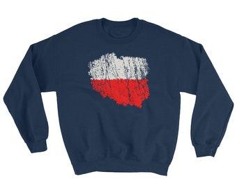 Polska Sweater - Polish Flag as Map of Poland Classic Vintage / Distressed Look Polski Sweatshirt