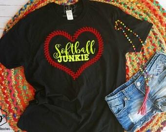 Softball Junkie | Softball Shirt | Softball Mamas | Softball Babes | Tball | little league | Moms shirts | Customize | Sidelines & Bleachers