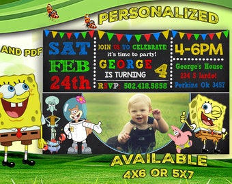 Spongebob Invitation, Spongebob Birthday Invitation, Spongebob Squarepants, Spongebob Printable, Spongebob Card - Printable Digital File