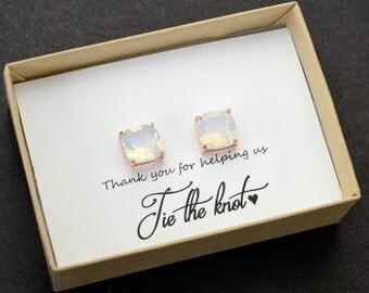White opal  Earrings opal white Bridesmaid gifts Jewelry Rose Gold  Bridal jewelry Bridesmaid gift set 4 5 6 7 8 square studs earrings