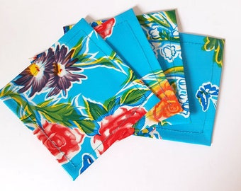 Blue Floral Mexican Oilcloth Coasters - Set of 4