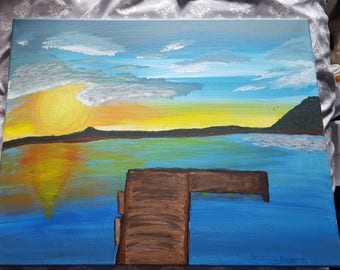 Sunset over a fishing dock on a lake in Wisconsic. Acrylic on canvas painting.