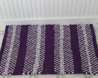 Handcrafted Twined Rug-Purple and White
