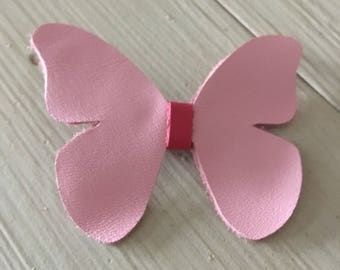 Leather hair clip, hair accessory, little girls' hair clip, pink butterfly