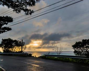 Japanese photography, fine art print, japan wall art, sunset over the ocean, ishigaki island