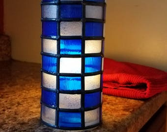 Blue and White Checkered Candle Holder