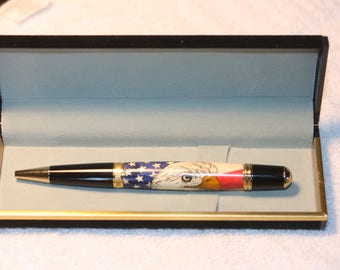 Handcrafted American Eagle Inlay Pen in a Black Velour Case
