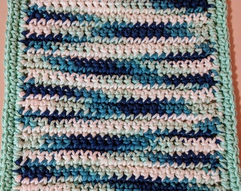 Blue Variegated 100% Cotton Dishcloth or Washcloth